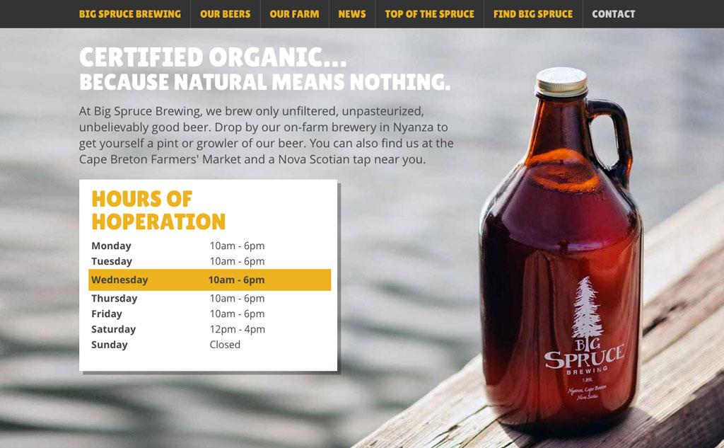 Website for Big Spruce Brewing